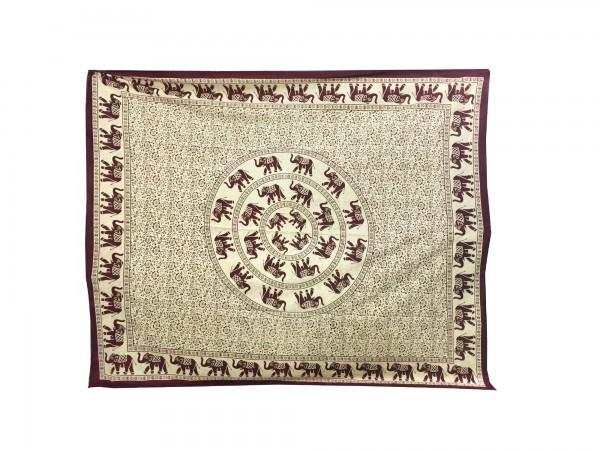 "Tagesdecke ""Haathi"", aus 100% Baumwolle, bordeaux/beige, L 200 cm, B 235 cm"