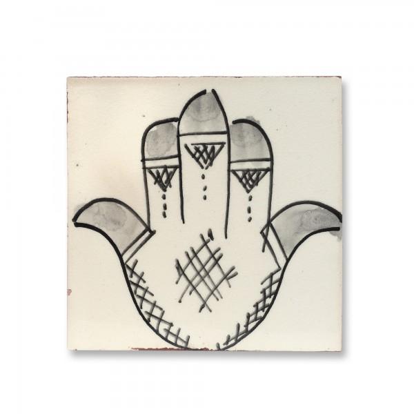 Kachel 'Fatima' Craquelé, weiß, schwarz, T 10 cm, B 10 cm, H 1 cm