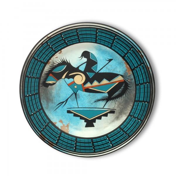 Wandteller 'Vaquero' handbemalt, blau, Ø 39 cm, H 3,5 cm