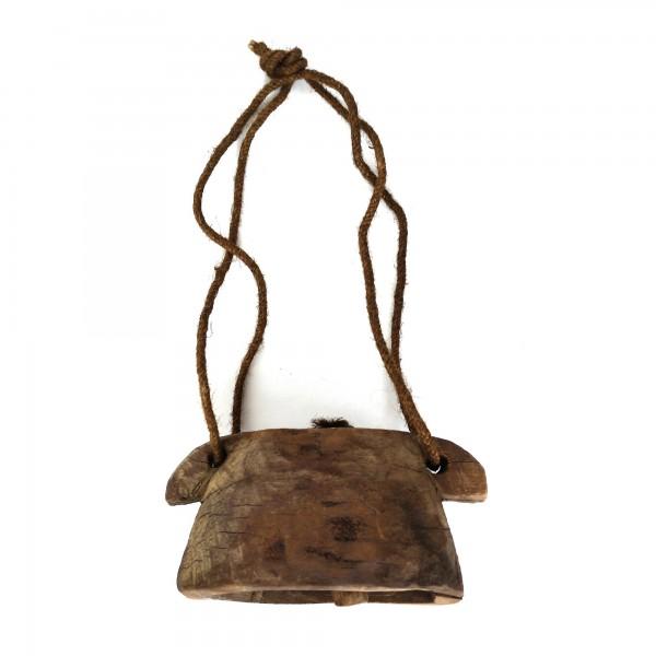 Antike hölzerne Kuhglocke S, natur, T 15 cm, B 11 cm, H 8 cm