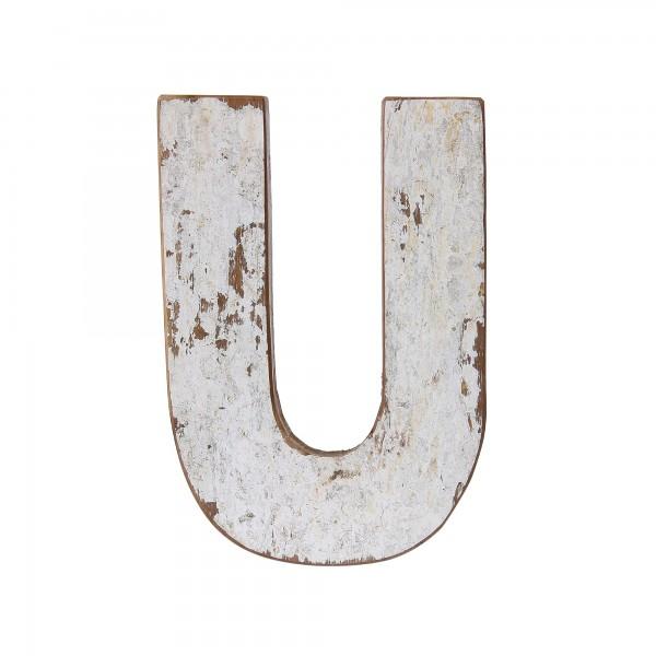Holzbuchstabe 'U', mehrfarbig, T 2,5 cm, B 13 cm, H 19 cm