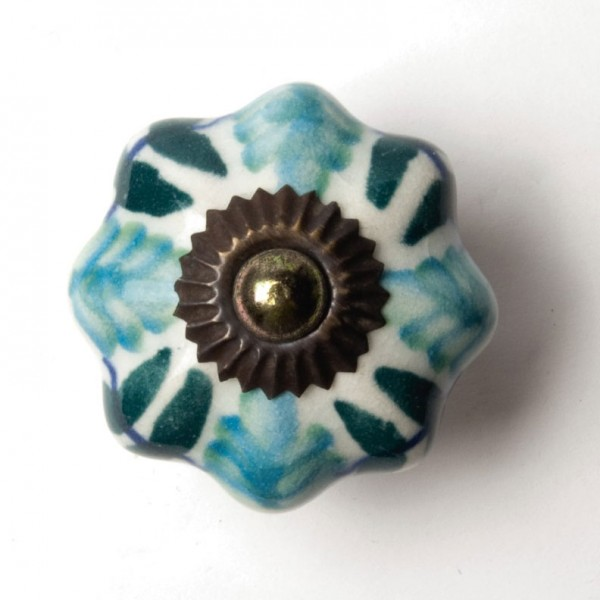 "Türknauf ""Blume"", türkis/grün, Ø 4,5 cm"