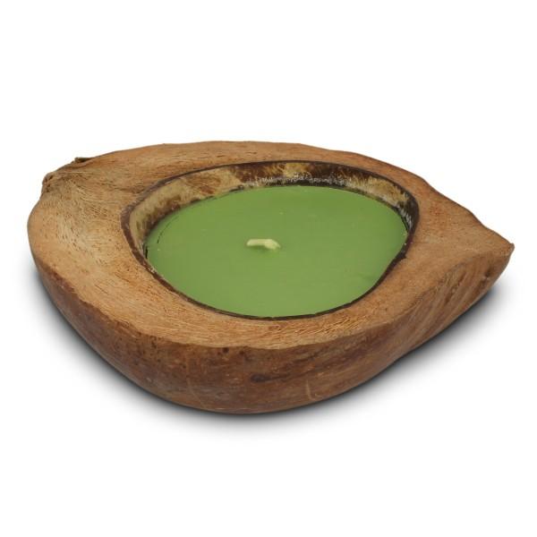 Kokosnussschale mit grüner Kerze, braun, H 5 cm, Ø ca. 20 cm