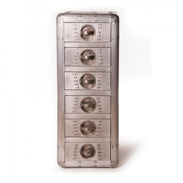 Schrank 'Buckson', mit 6 Schubladen, silber, L 40 cm, B 40 cm, H 100 cm