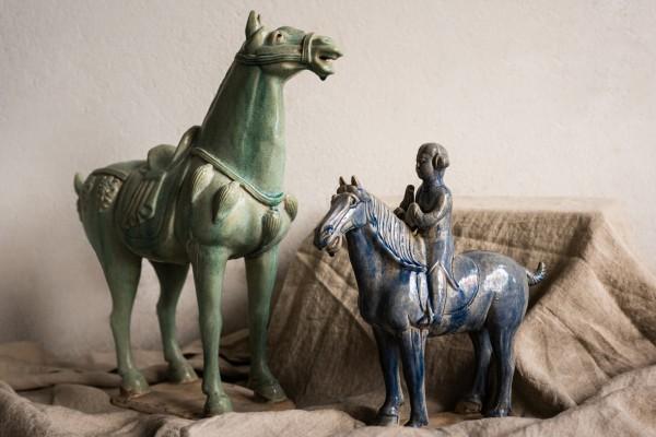 Keramikpferd 'Tang Dynastie', grün, T 40 cm, B 15 cm, H 41 cm
