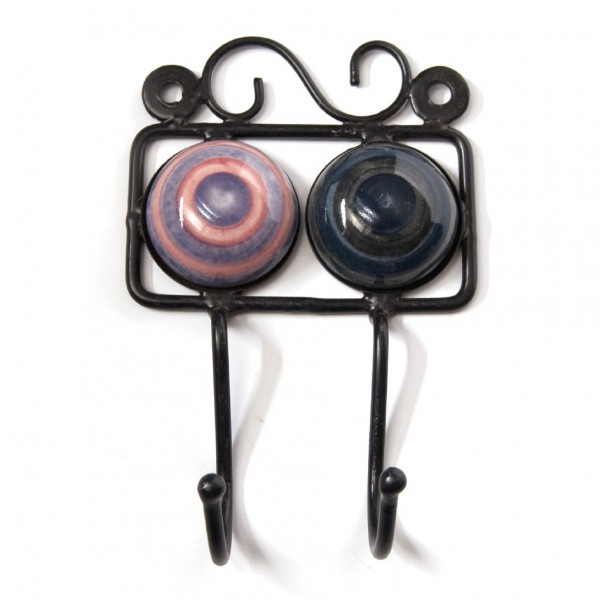 Wandhaken 2fach, rosa/lila/schwarz/blau, L 4,5 cm, B 10 cm, H 15 cm