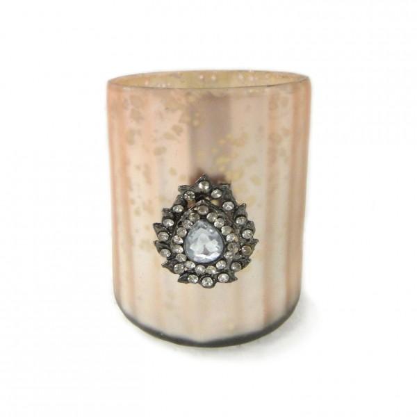 """Teelichtglas """"Votiveschmuck"""", beige, Ø 7 cm, H 8 cm"""