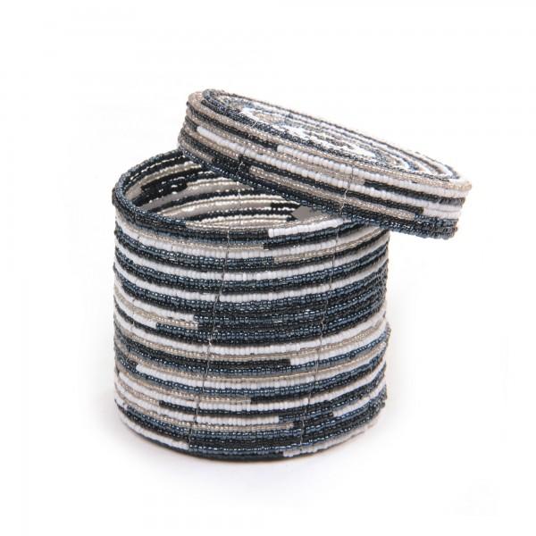 Deckelbehälter, aus Glasperlen, schwarz/weiß, Ø 10 cm, H 9 cm