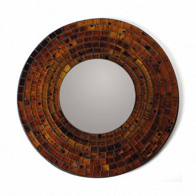 """Mosaik-Spiegel """"Ziegel"""", braun, Ø 30 cm"""
