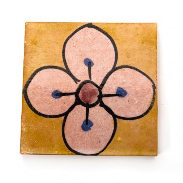 "Fliese ""Jasmin"", senf/rosa, L 10 cm, B 10 cm, H 1 cm"