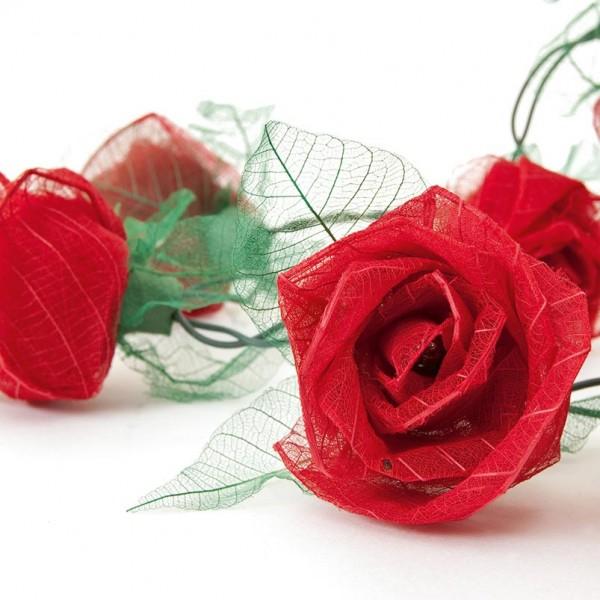 """Lichterkette """"Rose"""", mit 35 Leuchten, rot, L 470 cm"""