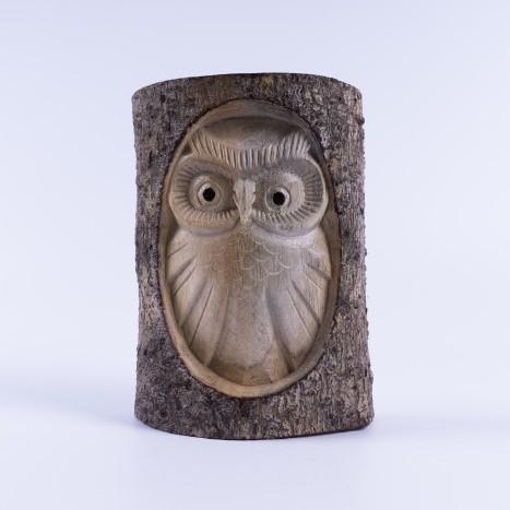 handgeschnitzte Eule in Holzstamm, natur, B 12 cm, H 15 cm
