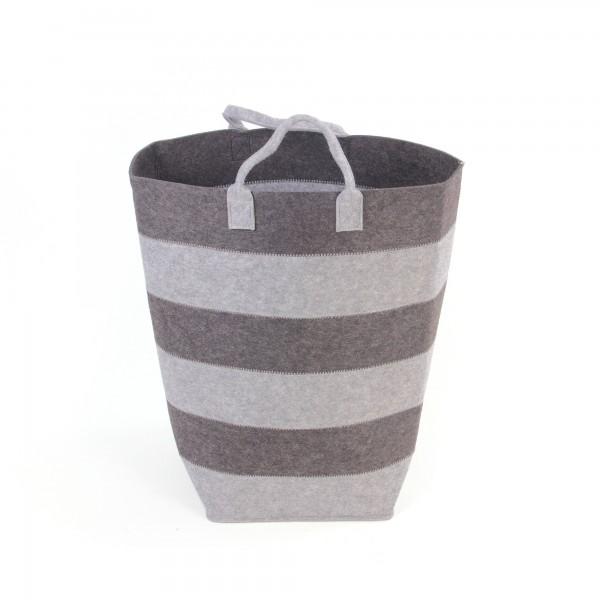 Wäschekorb M, aus Filz, grau, Ø 28 cm, H 54 cm