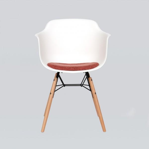 Stuhl 'Plomo', weiß, braun, orange, T 51 cm, B 59 cm, H 80 cm