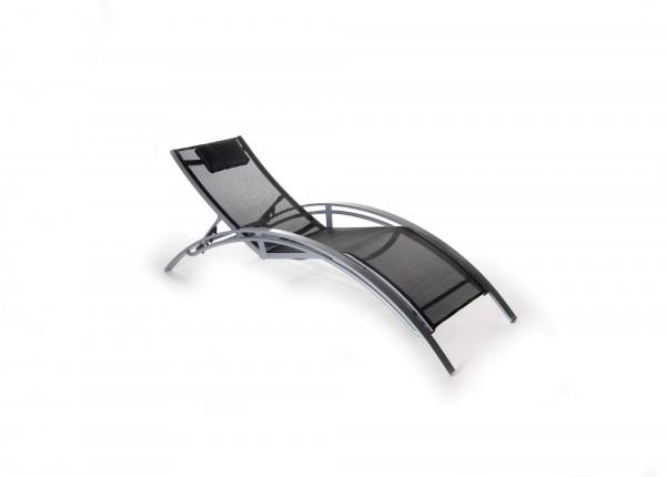 Pool-Lounger 'Clarksville', aluminium, schwarz, T 190 cm, B 67 cm, H 98 cm