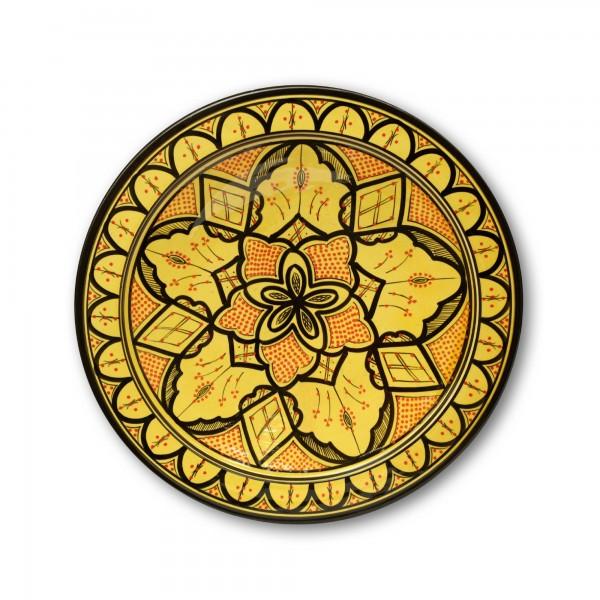 Zierschale, gelb, Ø 40 cm, H 9 cm