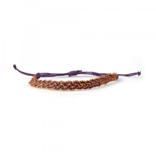 Armband geflochten, bronze, lila, Ø 10 cm