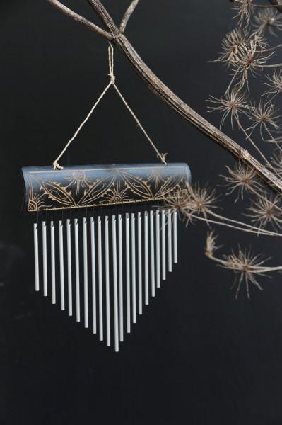 Windspiel 'Flower', aus Bambus und Aluminium, braun, B 24 cm