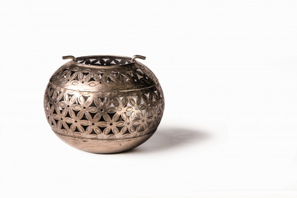 Teelichthalter 'Ball' antik, antikmessing, Ø 20 cm, H 15 cm