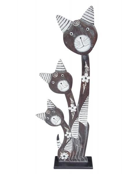 3er Holzkatze, dunkelbraun, H 80 cm