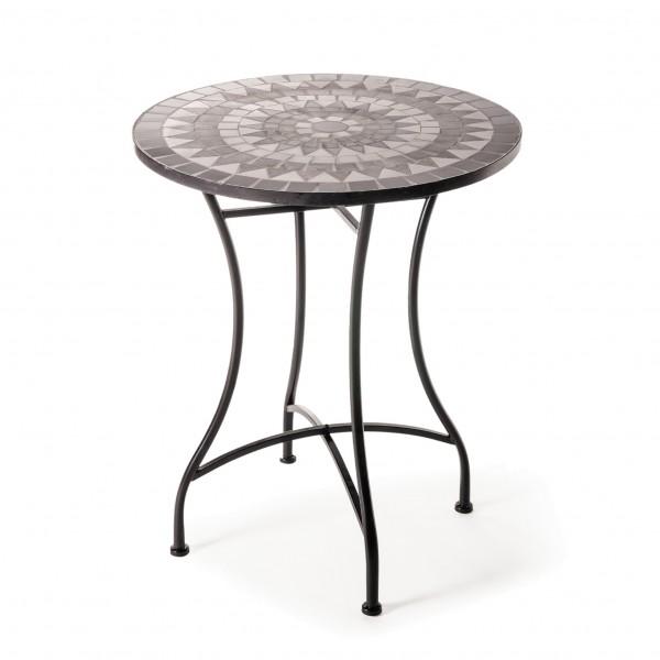 """Mosaiktisch aus Naturstein """"Sonne"""", schwarz/weiß, Ø 60 cm, H 71 cm"""