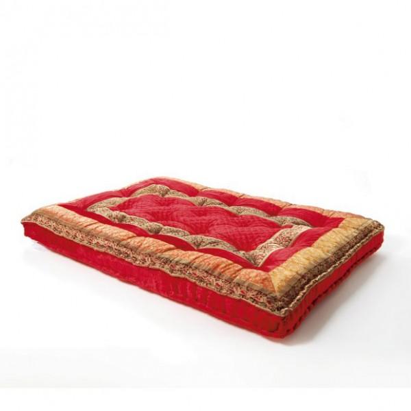 großes Bodenkissen im Bollywodstil aus Rajasthan, rot/gold, T 100 cm, B 150 cm, 10 cm