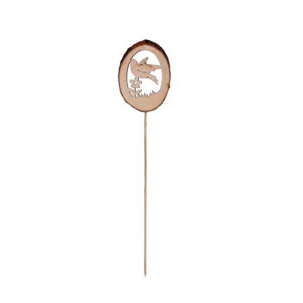 Holzstecker Vogel, braun, T 0,7 cm, B 7 cm, H 35 cm