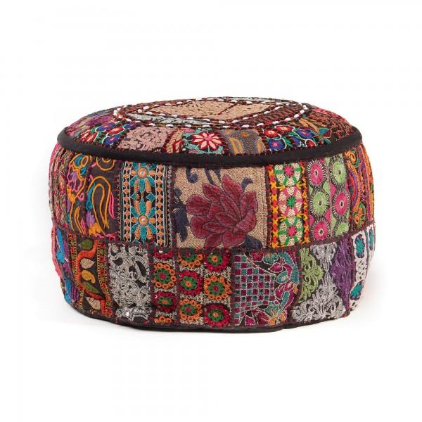 Patchwork-Sitzpouf 'Shambu', multicolor, Ø 40 cm, H 24 cm