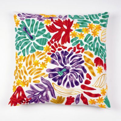 """Kissenhülle """"Hibiscus"""", türkis/multicolor, L 45 cm, B 45 cm"""