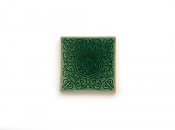 Steingutuntersetzer Blumenornament, türkis, T 10 cm, B 10 cm, H 1 cm