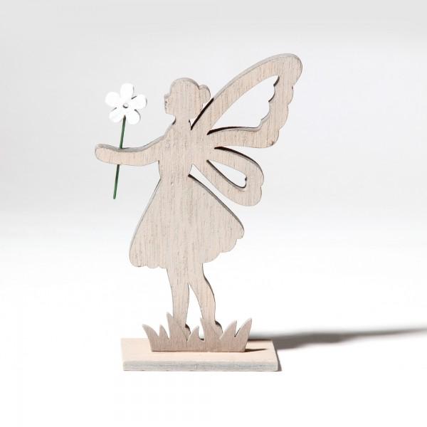 Holzengel mit Blume, grau, T 8,5 cm, B 4,5 cm, H 14 cm