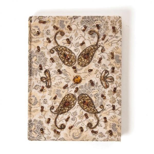 Tagebuch handbestickt und mit Glasperlen verziert, beige, B 13 cm, H 18 cm