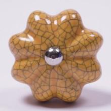 "Keramik Möbelknopf ""Blume"", handglasiert, gelb, Ø 4 cm"