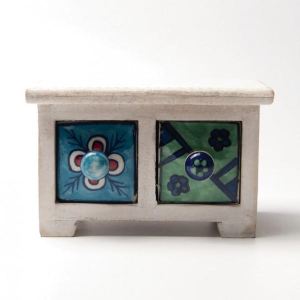 Schmucktruhe mit 2 Schubladen, weiß/blau/grün, L 10 cm, B 17 cm, H 10 cm