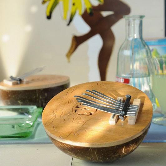 Kalimba aus Palmenholz, H 6 cm, Ø 15 cm