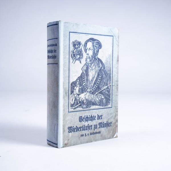 """Buch-Tresor """"Geschichte der Wiedertäufer zu Münster"""", L 5 cm, B 16 cm, H 24 cm"""