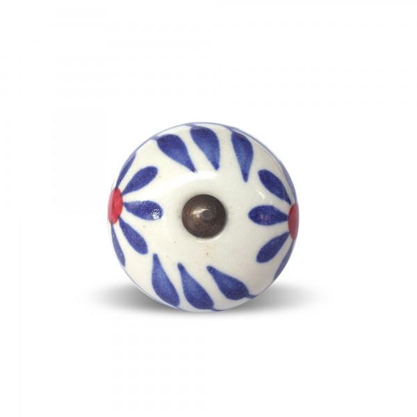 Knauf rund, weiß, blau, Ø 3,5 cm, H 2 cm