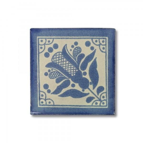 Kachel 'Cardo', blau, weiß, T 10 cm, B 10 cm, H 0,5 cm
