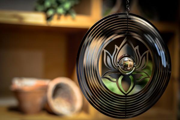Windspiel 'Lotus', silber, Ø 18 cm, H 18 cm