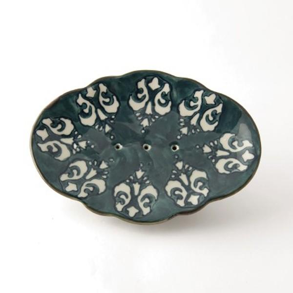 Handglasierte Seifenschale aus Keramik, blau/weiß, L 11 cm, B 15,5 cm, H 3 cm