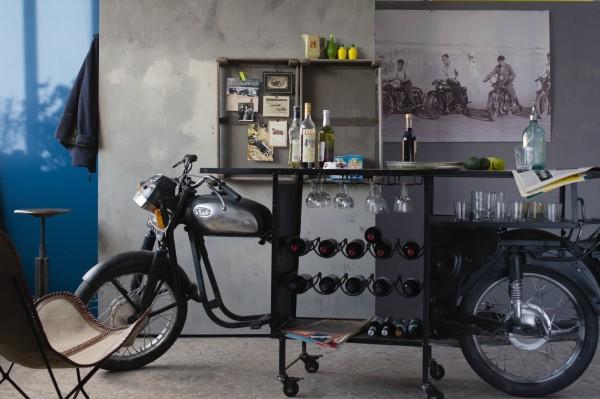 Motorbike-Bar, schwarz, T 70 cm, B 276 cm, H 100 cm