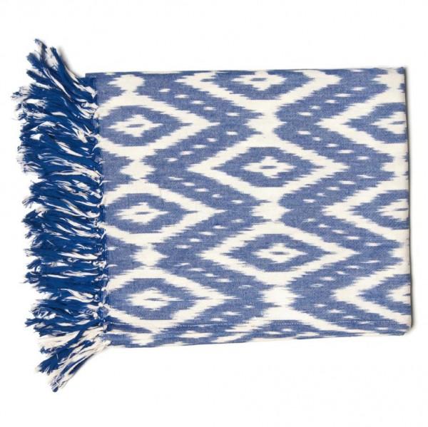 "Decke ""Ikkat"", blau/weiß, L 125 cm, B 150 cm"