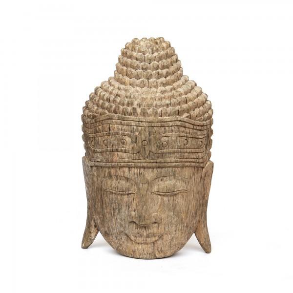 Buddha-Maske, grau, T 11 cm, B 25 cm, H 40 cm