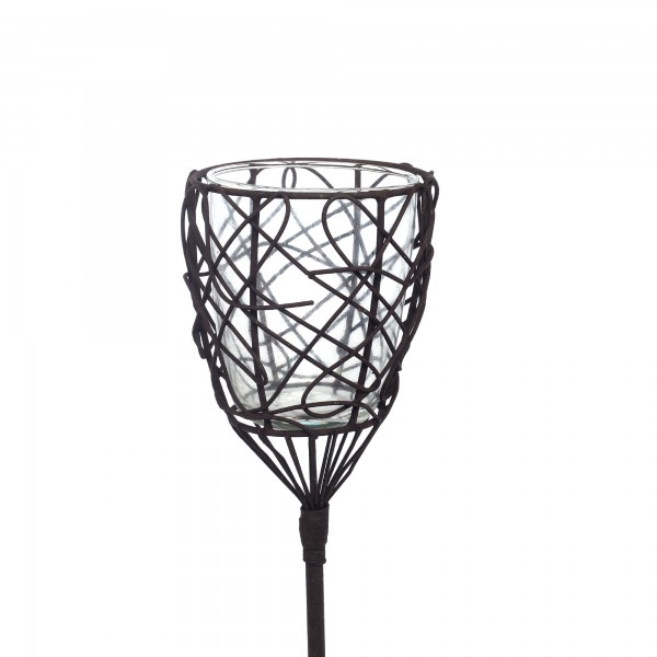 Steckeisen 'Kunst' mit Teelichthalter aus Draht mit Glaseinsatz, antik-braun, H 94 cm