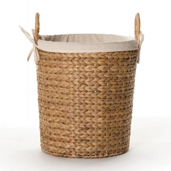 Wäschekorb mit Innenfutter, natur, H 41 cm, Ø 42 cm