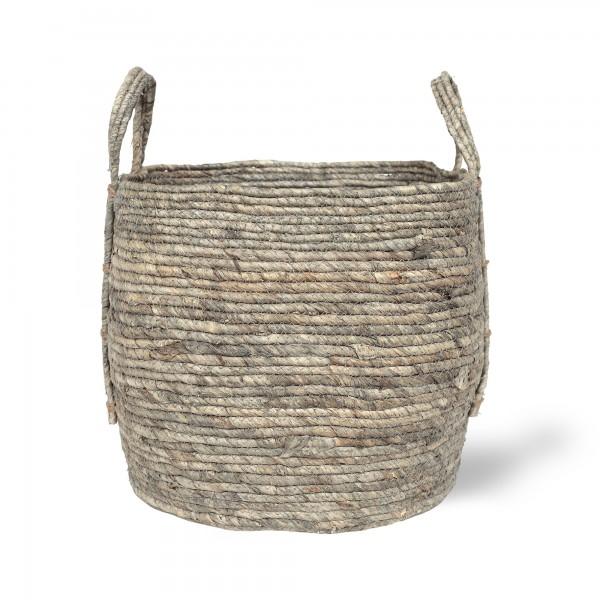 Korb 'Gamba' L, grau, natur, Ø 35 cm, H 30 cm