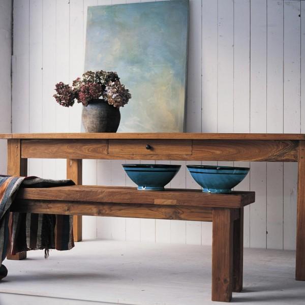 Holztisch aus recyceltem Teak mit durchgehender Schublade, natur, H 76 cm, B 200 cm, T 100 cm