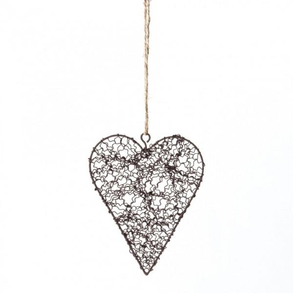"""Baumanhänger """"Curly Heart"""", antik-braun, B 10,5 cm, H 12,5 cm"""