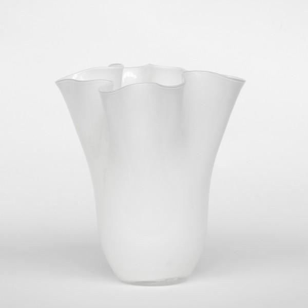 Glasvase, weiß, Ø 22 cm, H 26 cm