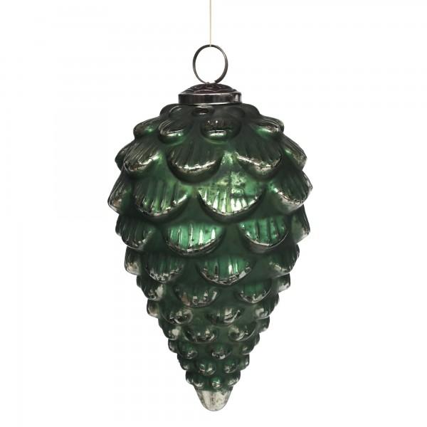 Anhänger Zapfen, grün, T 11,5 cm, B 11,5 cm, H 19 cm